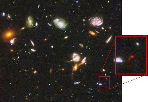 Resultado de imagen de El telescopio espacial Hubble enfocó regiones del espacio aparentemente vacías y negras, y después de muchos días de exposición obtuvo unas bellísimas fotos de galaxias muy lejana